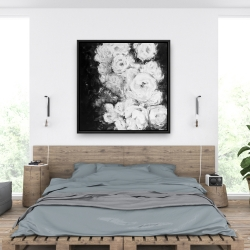Framed 36 x 36 - Monochrome rose garden