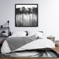Framed 36 x 36 - Abstract forest black and white
