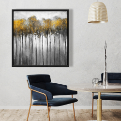 Framed 36 x 36 - Abstract yellow forest
