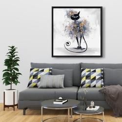 Framed 36 x 36 - Cartoon black cat
