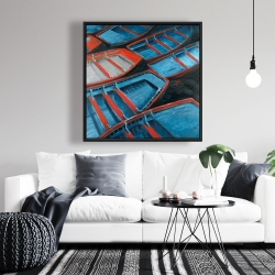 Framed 36 x 36 - Small blue and red canoes