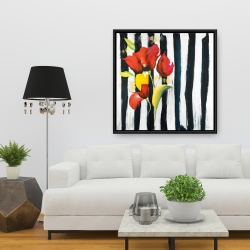 Framed 36 x 36 - Red flowers on stripes