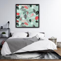 Framed 36 x 36 - Turquoise leaf patterns