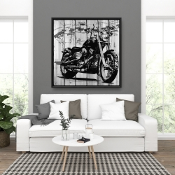 Framed 36 x 36 - Motorcycle grey and black