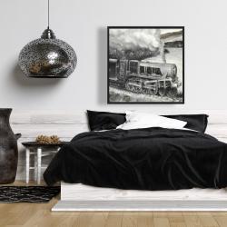 Framed 36 x 36 - Vintage passenger locomotive
