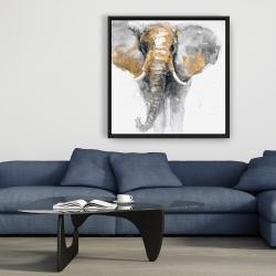 Framed 36 x 36 - Golden elephant