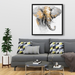 Framed 36 x 36 - Beautiful golden elephant