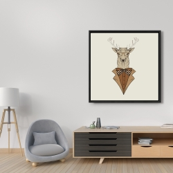 Framed 36 x 36 -  deer with brown coat