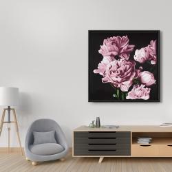 Framed 36 x 36 - Pink peonies