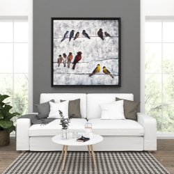 Framed 36 x 36 - Colorful birds on branches