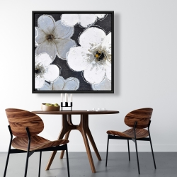 Framed 36 x 36 - Gray flowers