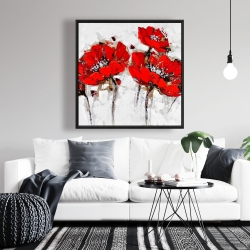 Framed 36 x 36 - Abstract poppy flowers