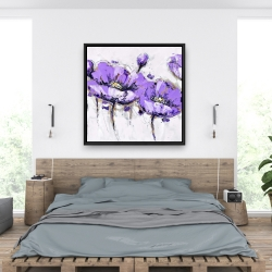 Framed 36 x 36 - Abstract purple flowers