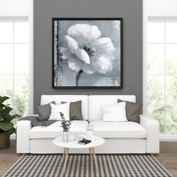 Framed 36 x 36 - Gray & white flowers