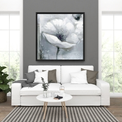 Framed 36 x 36 - Grayscale flowers
