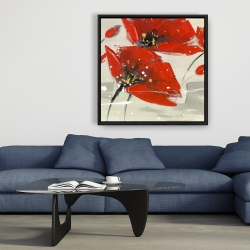 Framed 36 x 36 - Abstract red flowers in the wind