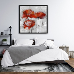 Framed 36 x 36 - Abstract poppies