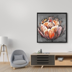Framed 36 x 36 - Double and abstract orange tulip
