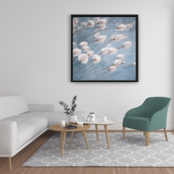 Framed 36 x 36 - Delicate cotton flowers