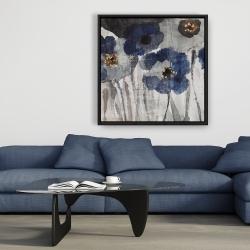 Framed 36 x 36 - Blue blurry flowers