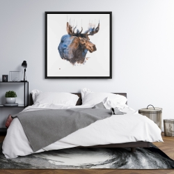 Framed 36 x 36 - Abstract blue moose