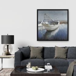 Framed 36 x 36 - Blue fishing boat