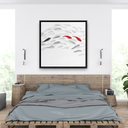 Framed 36 x 36 - Swimming fish wave