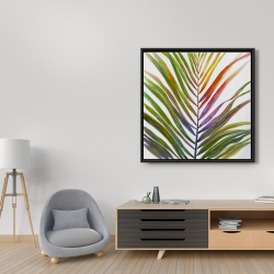 Framed 36 x 36 - Watercolor tropical palm leave