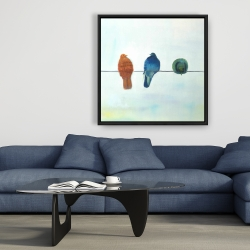 Framed 36 x 36 - Perched abstract birds
