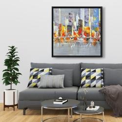 Framed 36 x 36 - Color splash cityscape