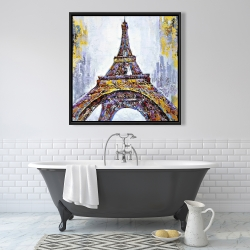 Framed 36 x 36 - Abstract paint splash eiffel tower