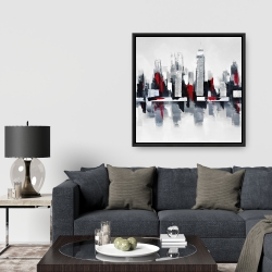 Framed 36 x 36 - Gray and red cityscape
