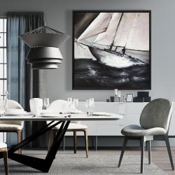 Framed 36 x 36 - Boat in a violent storm