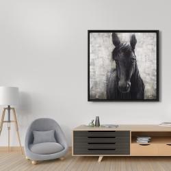 Encadré 36 x 36 - Cheval noir