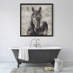 Framed 36 x 36 - Abstract horse with typography
