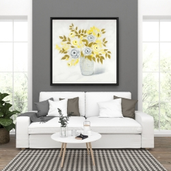 Framed 36 x 36 - Blue and yellow flowers in a vase