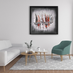 Framed 36 x 36 - Sailboats with paint splash