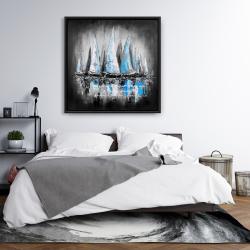 Encadré 36 x 36 -  bateaux bleus avec un message manuscrit