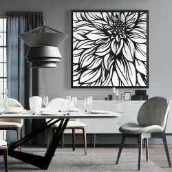 Framed 36 x 36 - Dahlia flower outline style