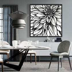 Framed 36 x 36 - Dahlia flower outline style