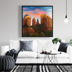 Framed 36 x 36 - Cathedral rock in arizona
