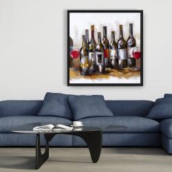 Framed 36 x 36 - Red wine bottles