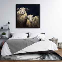 Framed 36 x 36 - Two sheep blue background