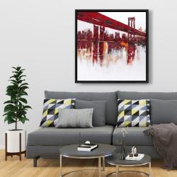 Framed 36 x 36 - Red bridge