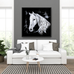 Framed 36 x 36 - Abstract horse profile view