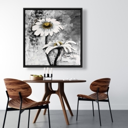 Framed 36 x 36 - Abstract daisies flowers