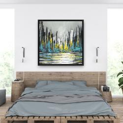 Framed 36 x 36 - Abstract blue skyline