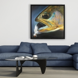 Framed 36 x 36 - Golden trout with fly fishing flie
