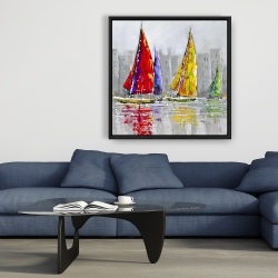 Framed 36 x 36 - Sailboats in the wind