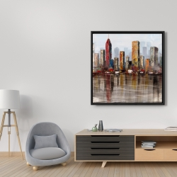 Framed 36 x 36 - Rust looking city